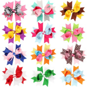 Clest F & H 12pcs Double Bubble Bow Hairpins Boutique Baby Girls Grosgrain Ribbon Bow with Clips Cute Baby Kids Hair Accessories
