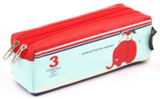 Blue red 3 children riding the elephant pencil case from Japan by Shinzi Katoh