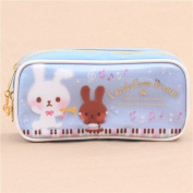 Cute blue rabbit music note instrument pencil case from Japan