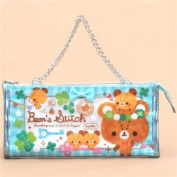 Kawaii turquoise white cute bear clover pouch pencil case from Japan
