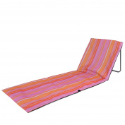 Trail Padded Beach Mat Stripe Folding Sun Lounger Adjustable Deck Chair