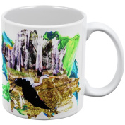 Great Blue Heron Abstract Paint All Over Coffee Mug White Standard One Size