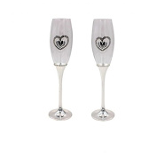 Silver Plated Celebration Champagne Flutes with Heart Detailing