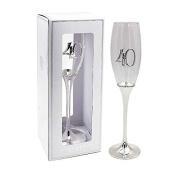 """Glamorous Silver Plated """"40"""" 40th Birthday Prosecco Glass / Champagne Flute with Presentation Box"""
