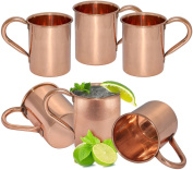 Zap Impex® Pure copper Moscow Mule cup, no coating, pure copper, ideal for all chilled beverage dazzling to entertain & bar or home, large bar gift set of 6