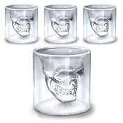 Shop Story – Set of 4 Glasses Skull – Liqueur Whisky Vodka Shooters etc