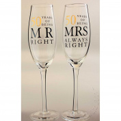 50th Golden Wedding Anniversary Champagne Glasses Gift