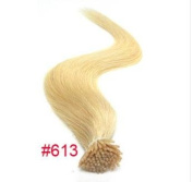 Pre bonded stick hair I tip Keratin human hair extensions 100% Indian Remy Human Hair #613 bleach blonde 100strands/100G/pack