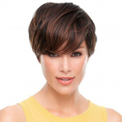 Tonake . Wig Women Lady Short Straight Brown Hair Wig Oblique Bang Heat Resistant