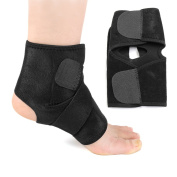sourcingmap® Black One Size Ankle Foot Support with Hook-in-Loop Closure Therapy Wrap Protector