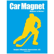 Ice Hockey Player Male Car Magnet Pose 3 Yellow