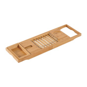 HomCom Adjustable Bamboo Bathtub Tray
