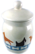 Polish Pottery Small Pet Treat Jar/Lidded Canister in the Unique Charming Pattern PIES or Dog Walk