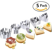10 Pcs/ Set Stainless Steel Cake Ring, HULISEN 7.6cm x 7.6cm Square Mousse Dessert Mould with Pusher & Lifter Cooking Rings