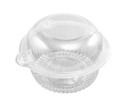 Hewnda 100 pieces Plastic Single Individual Cupcake Muffin Dome Holders Cases Boxes Cups Pods
