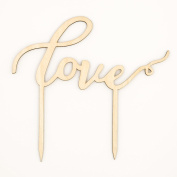 Love Wooden Wedding Cake Topper, Cursive Letters Rustic Decoration