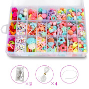 STSTECH DIY Beads Set with 4 Packs String, 24 Different Types and Shapes Colourful Acrylic DIY Beads in a Box for Children Necklace and Bracelet Crafts