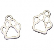 Antiqued Silver Cat Paw Foot Prints Charms Pendants for Jewellery Making DIY