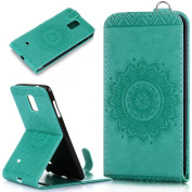 Galaxy Note 4 Case,Galaxy Note 4 Cover,ikasus Embossing Lace Floral Mandala Flower Premium PU Leather Fold Pouch Wallet Flip Stand Credit Card ID Holders Case Cover for Samsung Galaxy Note 4,Green