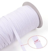 White 70-Yards Length 0.6cm Width Braided Elastic Cord/Elastic Band/Elastic Rope/Bungee/White Heavy Stretch Knit Elastic Spool With Free Tape Measure