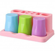 MYtodo Three-family Toothbrush Holder Three-colour Mouthwash Cup Rack Set