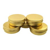 6PCS 40ml 1.4oz Round Gold Aluminium Nail Art Lip Balm Makeup Jar Can Bottle with Screw Lid DIY Cream Cosmetic Container Pot Tin Case Beauty Products
