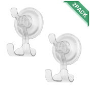 Shower Hooks Hanger ilikable Vacuum Suction Cup Hooks Bathroom Razor Holder for Kitchen Towel Loofah Wreath Sponge - 2 Pack, Clear