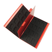 Foto & Tech Red Aluminium Memory Card Carrying Case 24 Slots for Micro SDHC Card Lexar SanDIsk Kingston Sony for Samsung