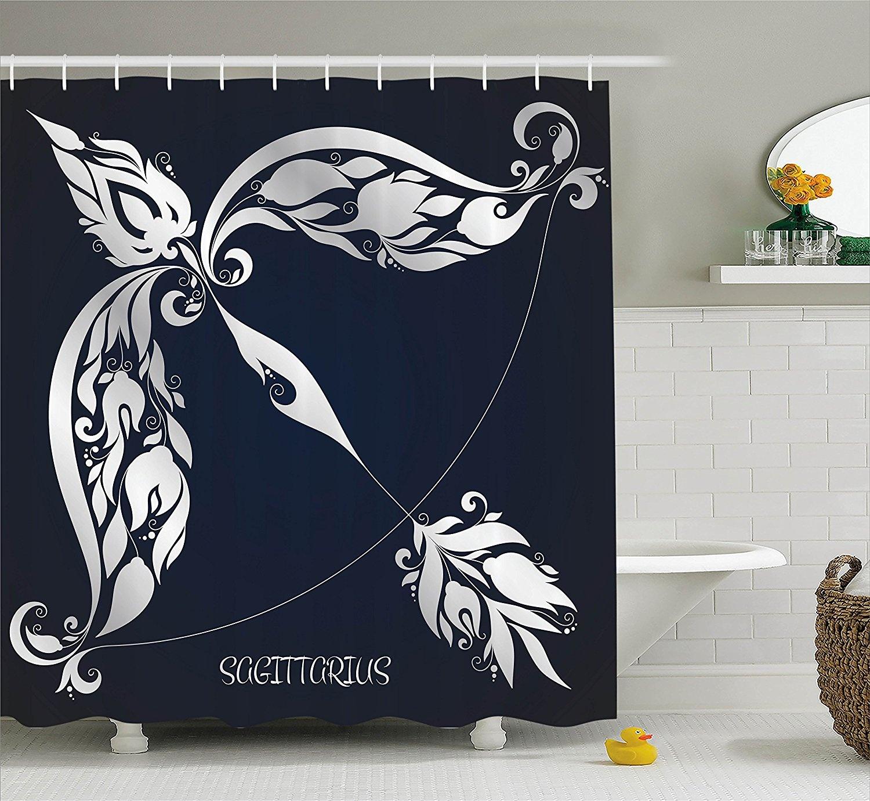 Christmas Shower Curtain Vintage Bathroom Decorations Brown