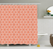 Coral Decor Shower Curtain by Ambesonne, Bound Mosaic Flower and Star Lines Damask Mix of East and West Boho Motif, Fabric Bathroom Decor Set with Hooks, 210cm Extra Long, Orange White