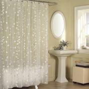 Excell Ivy 180cm x 180cm Chic Modern Botanical Floral Vinyl Bathroom Shower Curtain