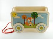 Dida - Carretto in legno trainabile porta oggetti e giochi per bambini. Decoro Volpe.