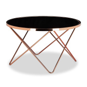 Relaxdays COPPER Side Table made of Copper and Black Glass, Size