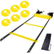 Agility Ladder Bundle with 6 Sports Cones, a Set of 12 Adjustable Rungs Durable Training Ladders for Soccer, Speed, Football