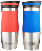 ExcelSteel Set of Two 410ml double Walled Stainless Steel Coffee Tumblers W/ Silicone Grip