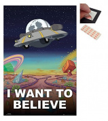 Bundle - 2 Items - Rick And Morty I Want To Believe Poster - 91.5 x 61cms (36 x 24 Inches) and a Set of 4 Repositionable Adhesive Pads For Easy Wall Fixing