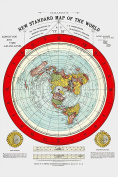 Flat Earth Map - Gleason's New Standard Map Of The World - Large 24 x 36 1892