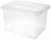 Allibert 227902 Transparent Plastic Handy Storage Box With Click Lid 39 x 25 x 25 cm 20 Litres