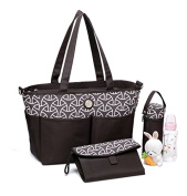 Changing Bag Tote by Colorland. Matching Changing Mat & Bottle Holder included. Lots of Pockets, Lightweight & Easy to Clean - Chocolate Brown