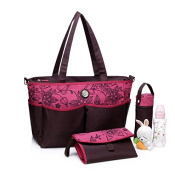 Changing Bag Tote by Colorland. Matching Changing Mat & Bottle Holder included. Lots of Pockets, Lightweight & Easy to Clean - Raspberry Chocolate