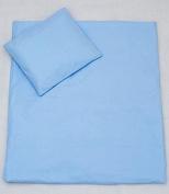 2 Pc Baby Quilt Pillow Filling Bedding Set For Crib, Cradle, Pram - Plain Blue