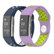 Fitbit Charge 2 Band, Annstory 2PCS Soft Silicone Silica Gel Sport Adjustable Replacement Band Strap for Fitbit Charge 2 Smartwatch Heart Rate Fitness Wristband