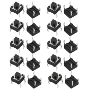 sourcingmap® 20Pcs 4 Terminals Momentary DIP Push Button Tact Tactile Switch 6mmx6mmx5mm