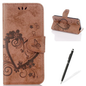 Feeltech Apple iPhone 6/6S Plus 14cm Flip case, Luxury Embossed Heart Butterfly Series Design Pattern Premium Ultra Slim PU Leather Wallet Cover [With Free Stylus Pen] Magnetic Clasp Closure Soft TPU Inner Bumper Built-in Foldable Stand Function Po ..
