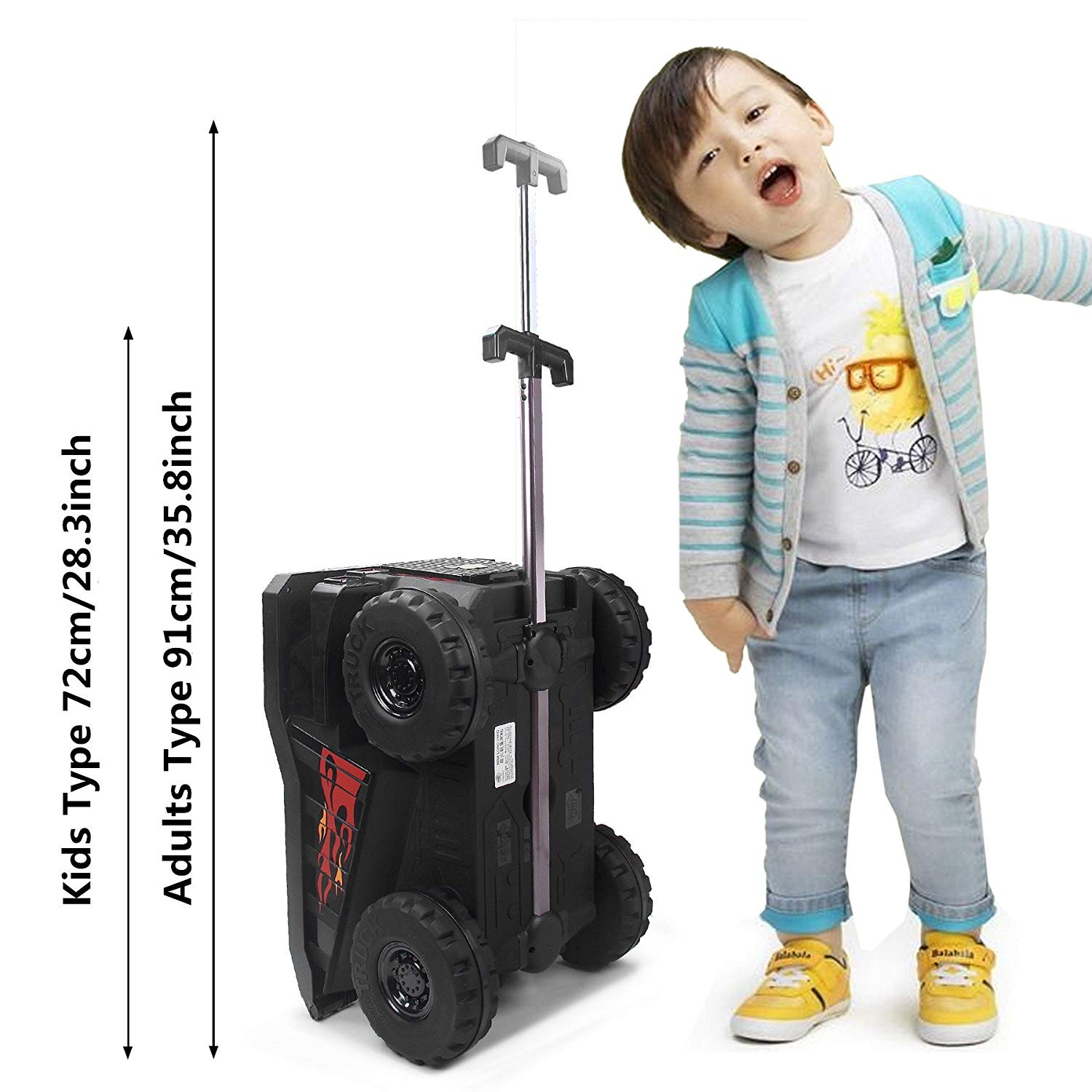 76ce89c6a6a6 Ride-On Toy Box ,PUQU MiningTruck Toy Travel Luggage Storage Case With Pull  Strap