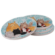 Ceramic Sandstone Drink Coaster Set - Maine Coon Kitty Family with Blue Swirls Cat Art by Denise Every