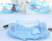 Bersun Instant Pop Up Portable Foldable Baby Mosquito Crib Net Tents Bed with Mattress Cushion and Pillow
