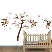 Pink and Green Monkey Wall Stickers with Tree Decal