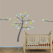 Teal and Grey Tree Wall Decals for Boys Rooms