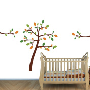 Fabric Repositionable Tree Wall Stick with Green and Orange Leaves